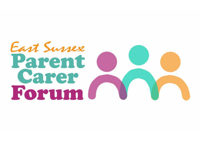 Logo for East Sussex Parent Carer Forum with symbols representing three people