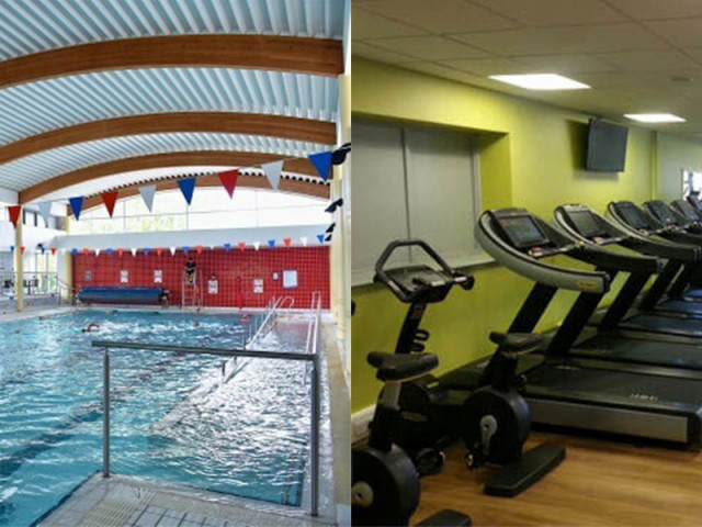 Two pictures of a the freedom leisure swimming pool and two treadmills