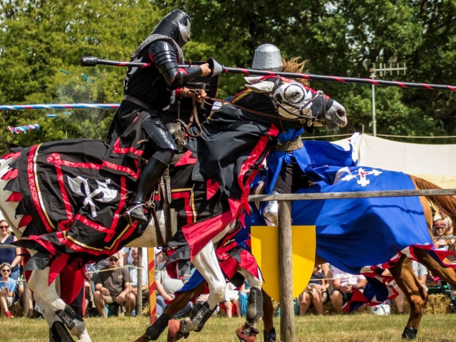 Two people jousting on horses, with an audience in the background.