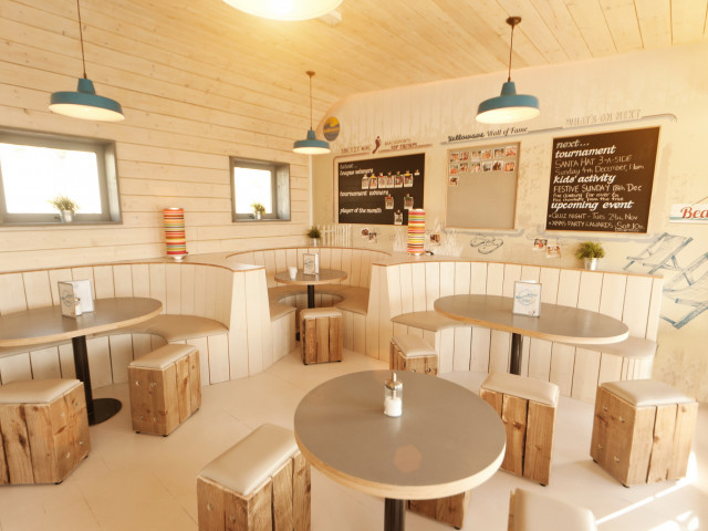 Inside the dining area of the barefoot cafe