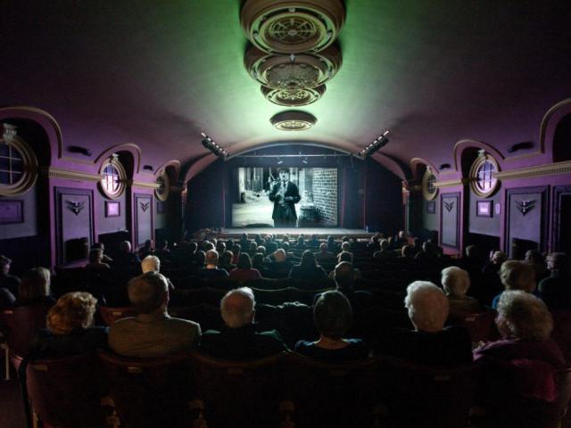 Inside Hailsham pavilion theatre cinema whilst a film is being shown