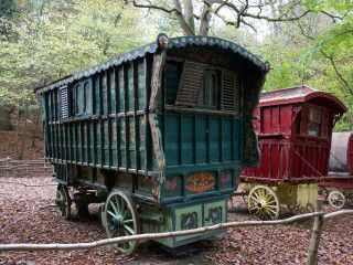 Brightly coloured carriages at Groombridge Place