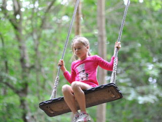 Young girl on the high swing