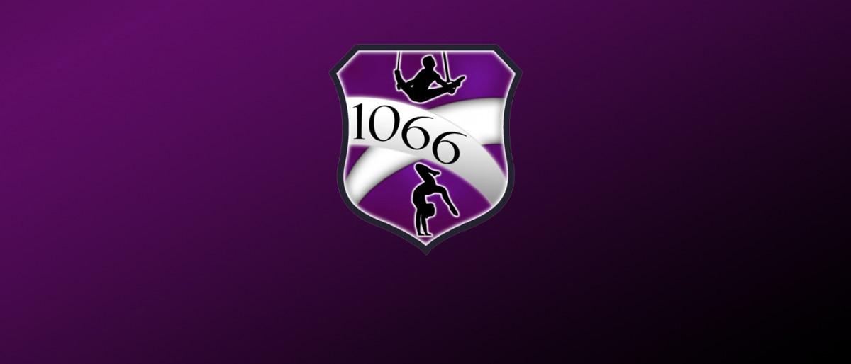 1066 gymnastics logo with purple background