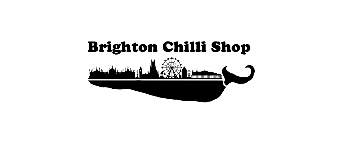 Brighton Chili Shop logo with silhouette of Brighton in black and white