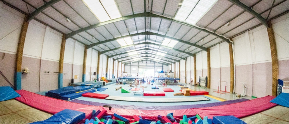 Inside fun abounds, various gymnastics equipment as well as trampolines
