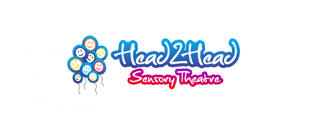 Head 2 Head Sensory Theatre logo with multi coloured balloons with smiley faces