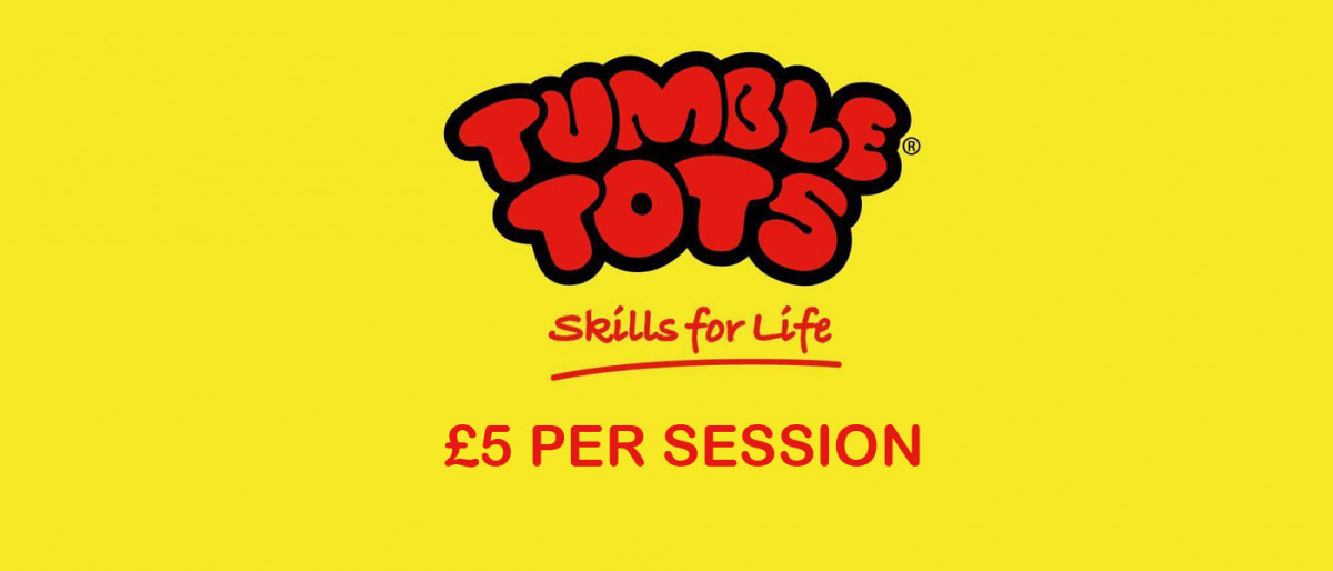 Tumble tots logo with yellow background and red writing underneath that says £5 per session