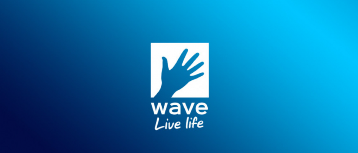 Wave logo blue hand waving with blue background