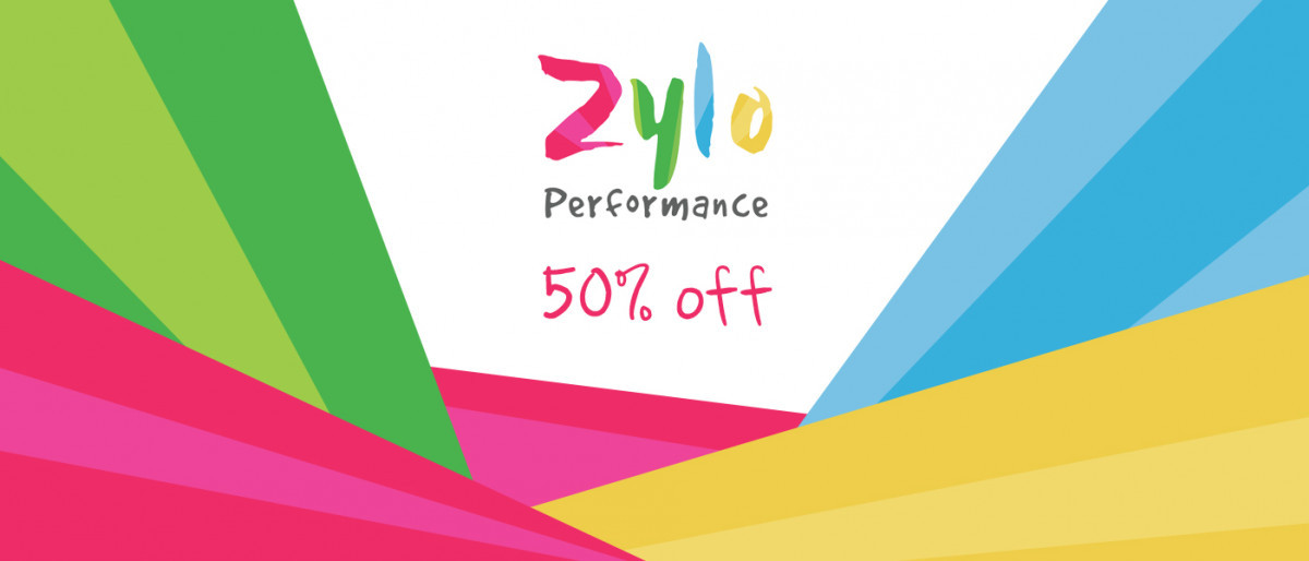 Zylo logo with writing that says 50% off