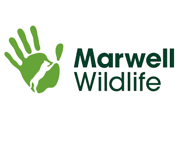 Marwell zoo logo. Marwell zoo in black writing and a green handprint next to it.